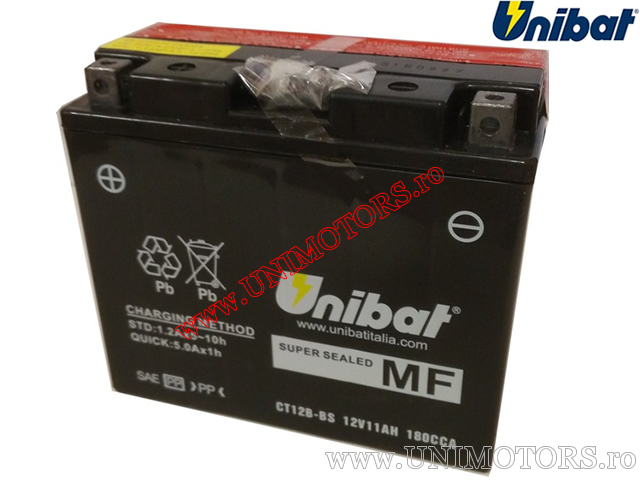 Acumulator moto 12V 11AH - 'Maintenance Free' (CT12B-BS) - Unibat